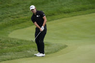 Patrick Cantlay hits to the fourth green during the final round of the Memorial golf tournament, Sunday, June 6, 2021, in Dublin, Ohio. (AP Photo/Darron Cummings)