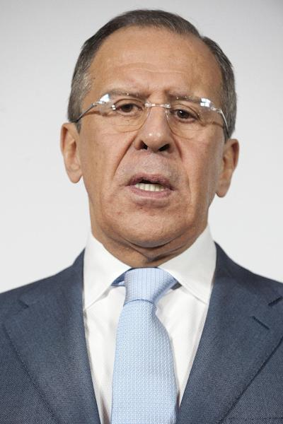 Russian Foreign Minister Sergei Lavrov speaks during a press conference in Neuchatel, Switzerland, Friday, April 12, 2013. Lavrov is on a working visit in Switzerland. (AP Photo/Keystone/Sandro Campardo)