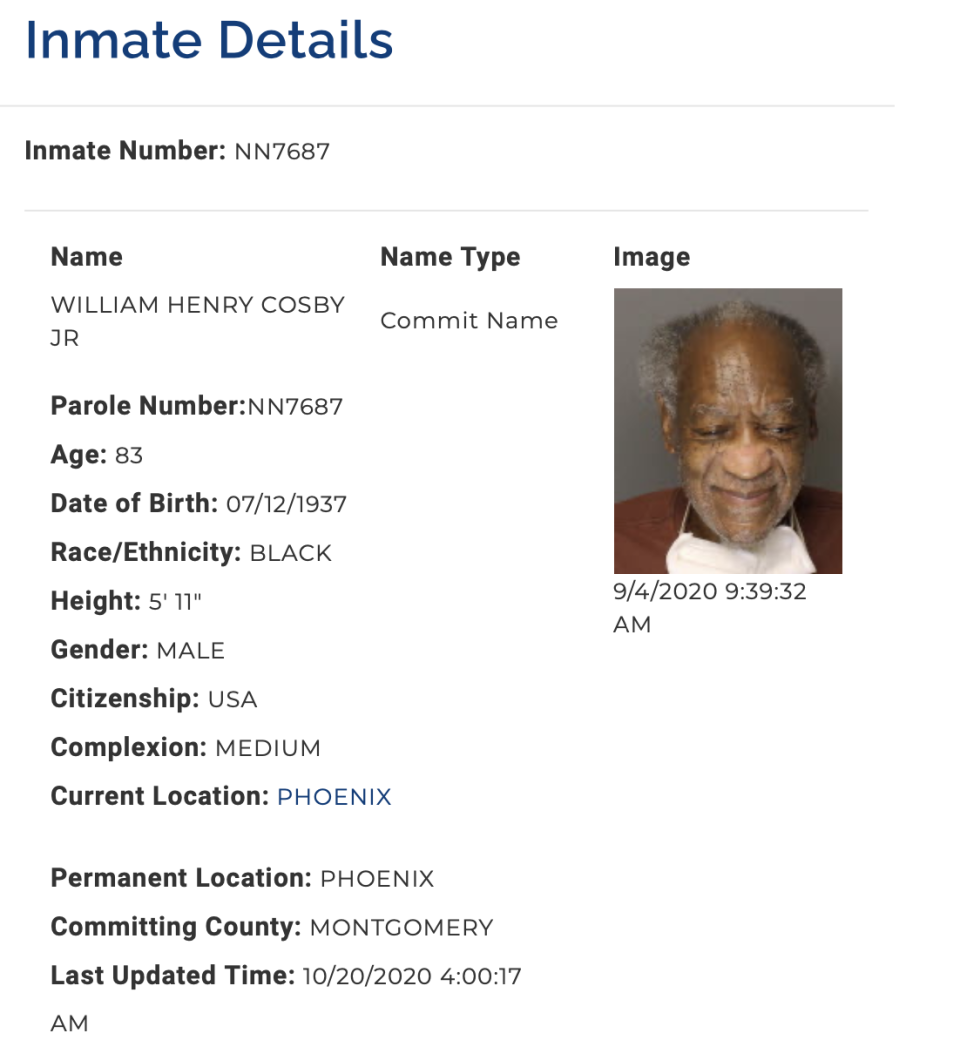 Bill Cosby shares a smile in his latest mug shot. (Screenshot: Pennsylvania Department of Corrections)