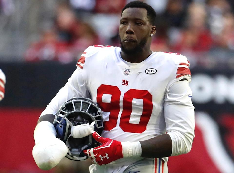 Jason Pierre-Paul has played with a club on his right hand since mangling it in a 2015 fireworks explosion and reminded revelers to be safe on July 4. (AP)