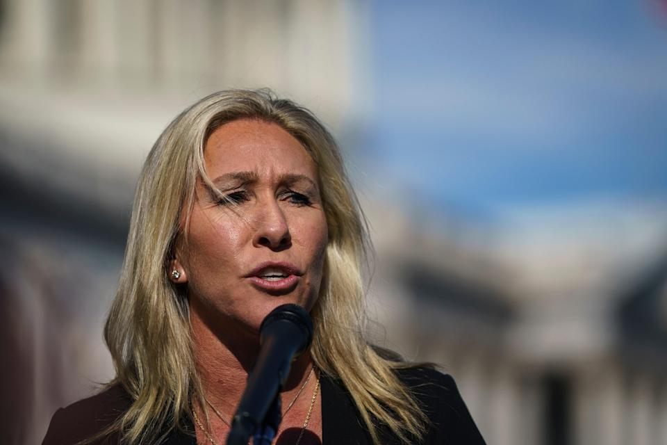 <p>Majorie Taylor Greene launches anti-vaxxer rant on Steve Bannon's podcast</p> (Getty Images)