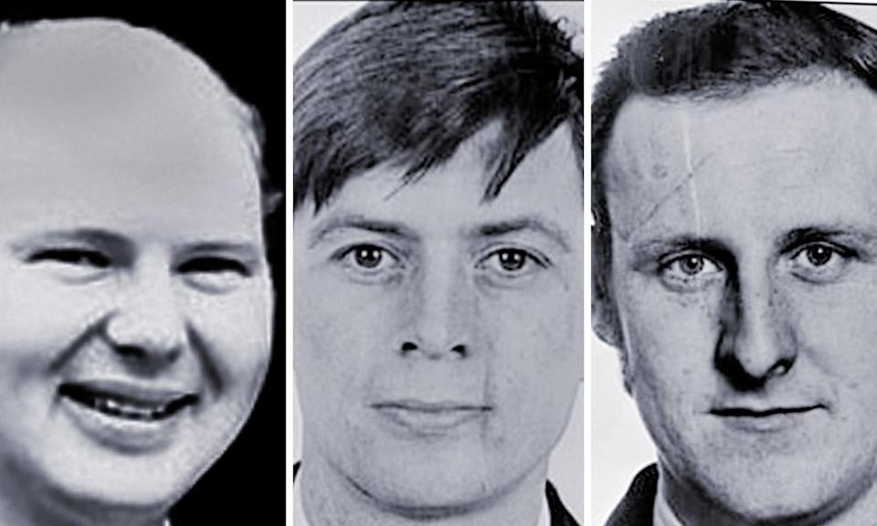 From left: Paul Hamilton, Alan McCloy and Sean Quinn, who were killed in the bomb attack in 1982.