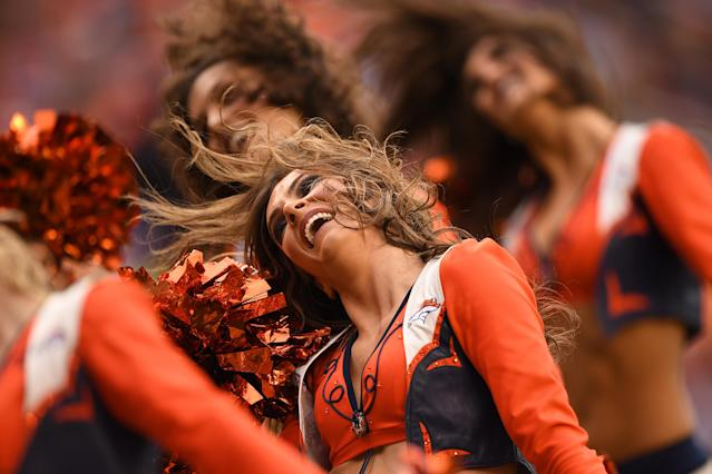 <p>Denver Broncos cheerleaders perform in the second quarter against the Cincinnati Bengals. The Denver Broncos hosted the Cincinnati Bengals at Sports Authority Field at Mile High in Denver, Colorado on Sunday, November 19, 2017. (Photo by John Leyba/The Denver Post) </p>
