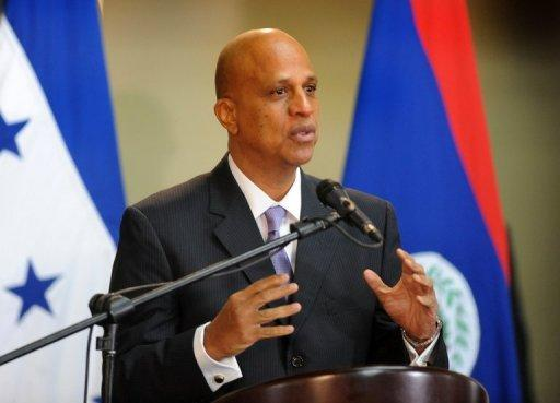 Belize's Prime Minister Dean Barrow speaks to the media in Tegucigalpa, Honduras, on November 7, 2012