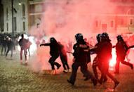 Police in several European cities including Rome have clashed with people protesting anti-virus restrictions