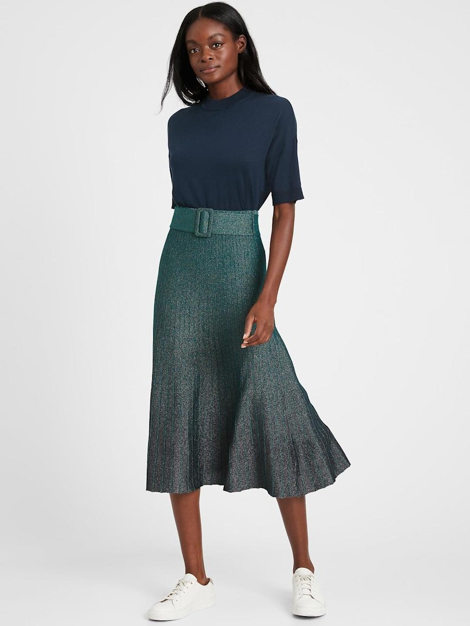 <p>Our editors adore this <span>Metallic Ombré Pleated Sweater Skirt</span> ($77, originally $110).</p>