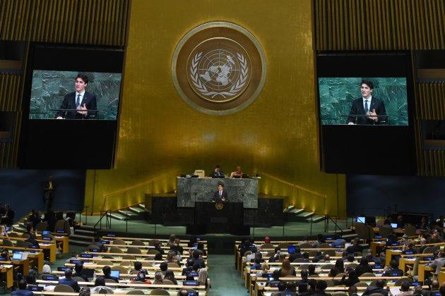 Prime Minister Justin Trudeau speaks during the 72nd session of the General Assembly at the United Nations in New York on Sept. 21, 2017.