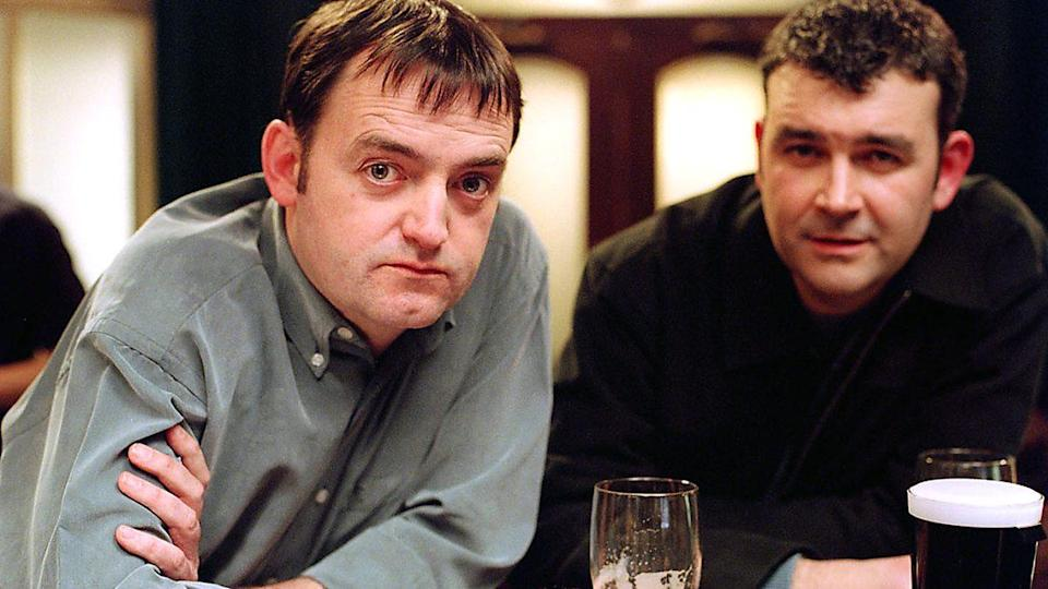 Craig Cash and Phil Mealey prop up the bar in Early Doors. (BBC)