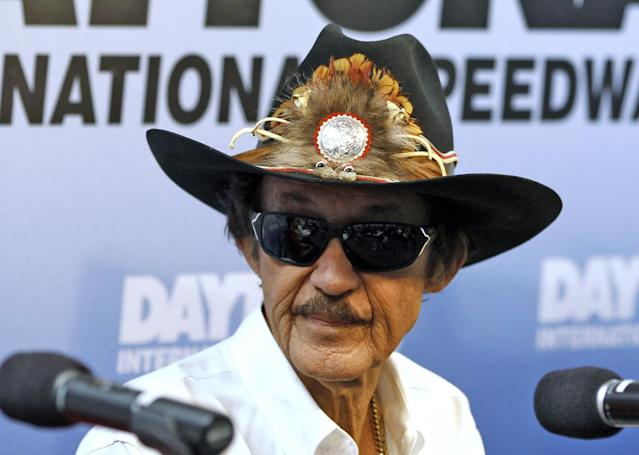 "FILE - In this Feb. 21, 2013 file photo, NASCAR Hall of Fame driver Richard Petty speaks during a news conference at Daytona International Speedway in Daytona Beach, Fla. Petty says Danica Patrick can only win a Sprint Cup Series race ""if everybody else stayed home."" The seven-time champion made the comment during a Sunday, Feb. 9, 2014, appearance at the Canadian Motorsports Expo in Toronto, according to the website wheels.ca. (AP Photo/Terry Renna, File)"