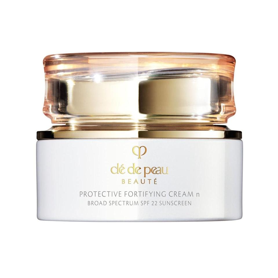 """<p>When Cle de Peau's Protective Fortifying Cream launched, it was an instant contender for one of the best new moisturizers of 2019, sunscreen or not. So the fact that it has the bonus SPF 22 protection makes it a must-have for anyone who wants a luxurious skin-care experience that doesn't skimp on sun-damage defense. And instead of an unwanted cast, it leaves skin illuminated with a special silk-based blend of ingredients.</p> <p><strong>$155</strong> (<a href=""""https://click.linksynergy.com/deeplink?id=MZ9491VLjxM&mid=1237&u1=alluremoisturizerswithspf&murl=https%3A%2F%2Fshop.nordstrom.com%2Fs%2Fcle-de-peau-beaute-protective-fortifying-cream-spf-22%2F5363325%2Flite"""" rel=""""nofollow noopener"""" target=""""_blank"""" data-ylk=""""slk:Shop Now"""" class=""""link rapid-noclick-resp"""">Shop Now</a>)</p>"""