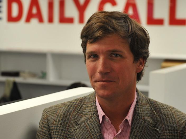 Tucker Carlson at the office of the new website, the Daily Caller, on January 6, 2010, in Washington, DC.