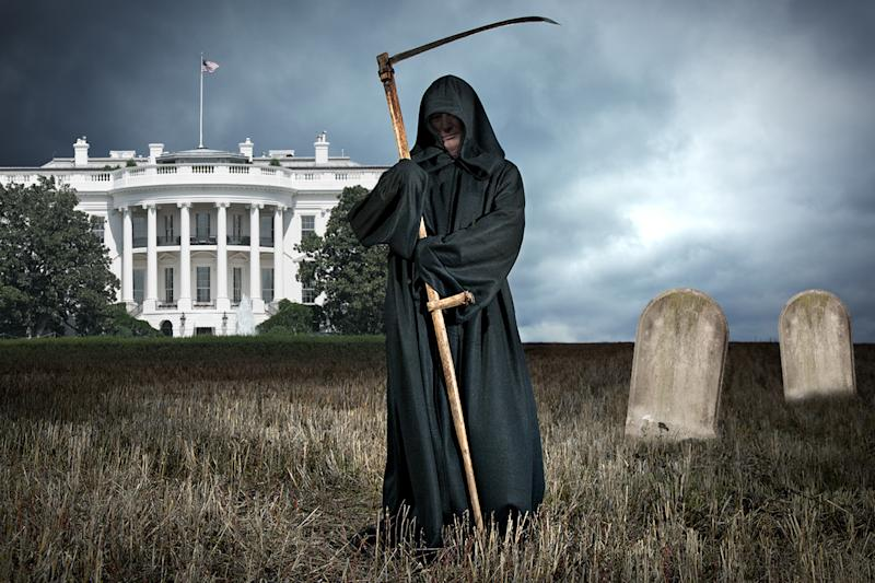 A photo illustration of the Grim Reaper outside the White House