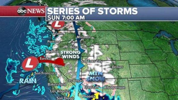 PHOTO: A major storm is moving onto the West Coast on Sunday morning. (ABC News)