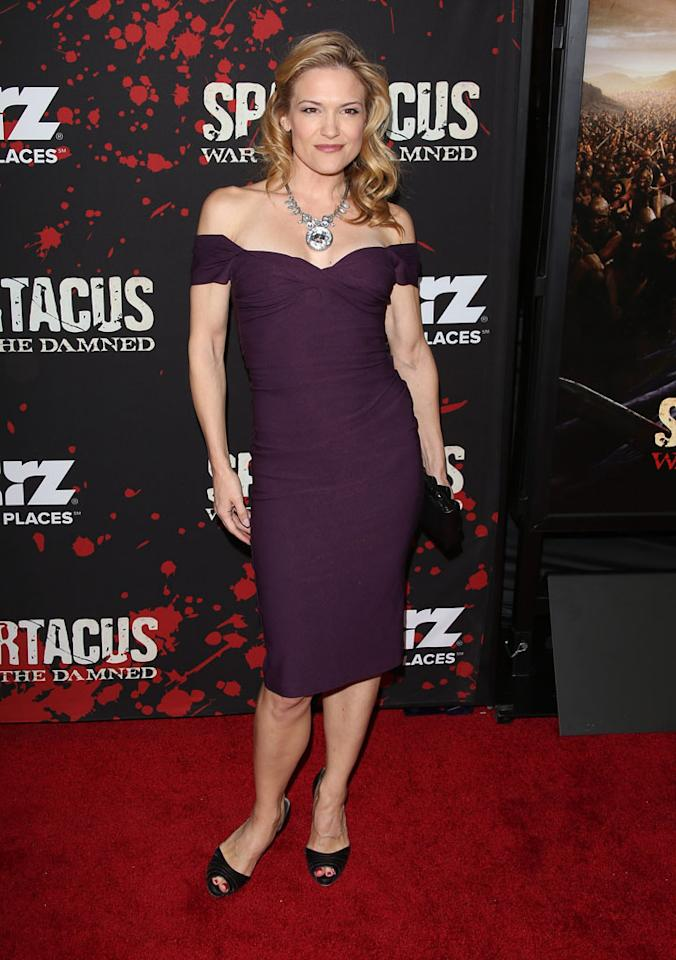 "Victoria Pratt attends the premiere of Starz's ""Spartacus: War of the Damned"" at Regal Cinemas L.A. Live on January 22, 2013 in Los Angeles, California."