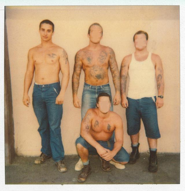 Chuck Leek with other prisoners after his arrest for assault with a deadly weapon. (Photo: Chuck Leek)