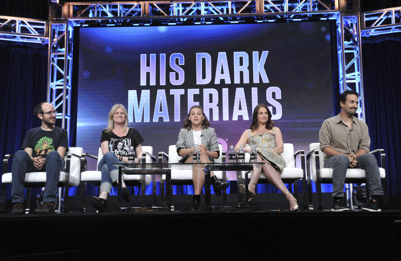 """Executive producer/writer Jack Thorne, from left, executive producer Jane Tranter, Dafne Keen, Ruth Wilson and Lin-Manuel Miranda participate in HBO's """"His Dark Materials"""" panel at the Television Critics Association Summer Press Tour on Wednesday, July 24, 2019, in Beverly Hills, Calif. (Photo by Richard Shotwell/Invision/AP)"""