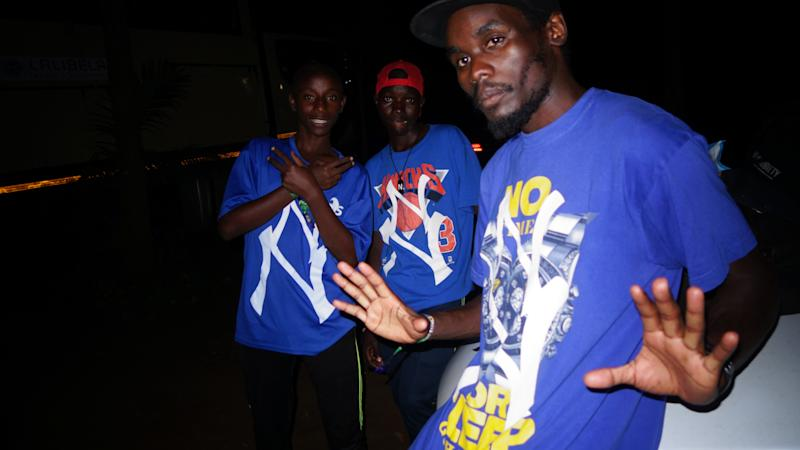 Sharif, Lawrence, and Scooter of Kampala beatbox crew Human Audio after our festival performance, wearing Never Normal Soundsystem Collection.