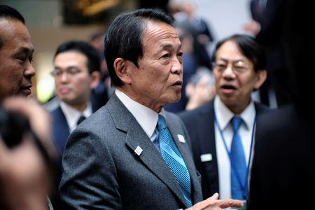 FILE PHOTO: Japanese Finance Minster Taro Aso at the IMF and World Bank Spring Meetings in Washington