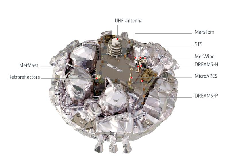 """An illustration released by the European Space Agency (ESA) shows the Schiaparelli EDM lander. The Schiaparelli lander is due to touch down on the red planet October 19, 2016, in Europe's first attempt to land a craft there since the Beagle 2's """"heroic failure"""" more than a decade ago.  ESA/Handout via REUTERS    FOR EDITORIAL USE ONLY. NO RESALES. NO ARCHIVES"""
