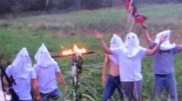 A group of high school students have caused a firestorm in a small Iowa town for this image posted on social media. (AP)