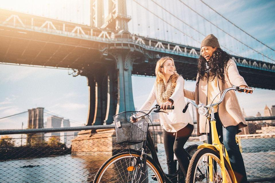 <p>Fall makes a great time for riding bikes because the weather has cooled down, so you don't get sweaty in unmentionable places. See your town or city from a fresh perspective and get some exercise with your sweetheart, but don't forget to wear your helmets. </p>