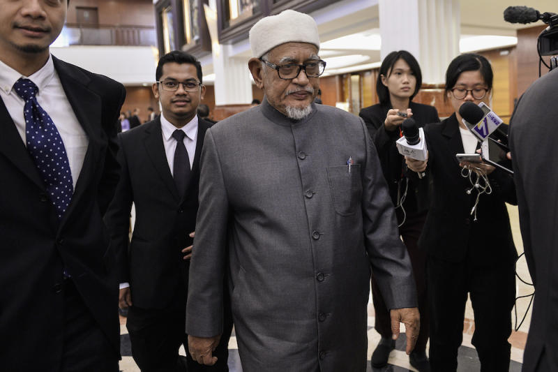 Datuk Seri Abdul Hadi Awang is pictured at Parliament October 9, 2019. — Picture by Miera Zulyana