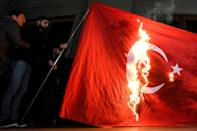 Armenians set fire to a Turkish flag in Yerevan
