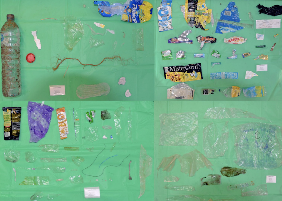 Nearshore samples of ocean plastic pollution show a prevalence of film-type plastics, mainly wrappers, and cover/packaging-related items (UCA Marine Litter Lab)