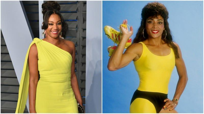 (L-)Tiffany Haddish attends the 2018 Vanity Fair Oscar Party on March 4, 2018 in Beverly Hills, California; Florence Griffith Joyner poses for a picture in 1988.