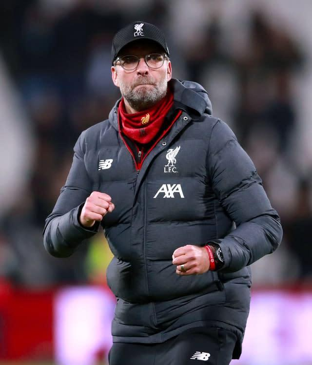 Liverpool manager Jurgen Klopp celebrates after the final whistle against West Ham (Adam Davy/PA)
