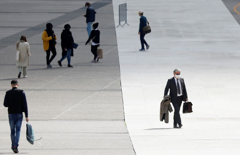 People at financial and business district of La Defense
