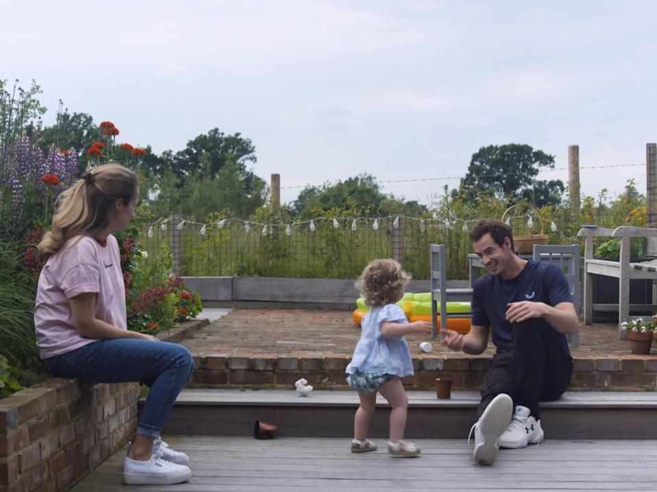 <p> Andy enjoying time with his family at his Surrey mansion in Oxshott in documentary - Andy Murray: Resurfacing</p> (VIDEO GRAB)