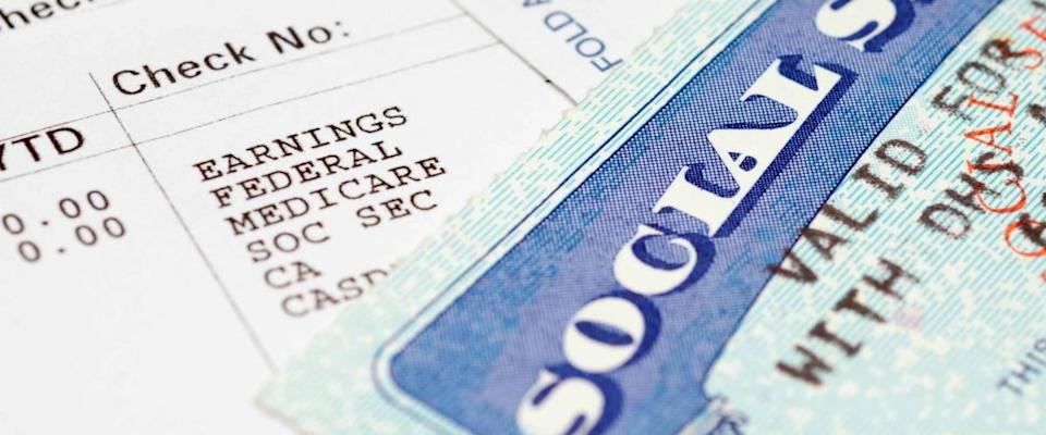 Social security card with statements.
