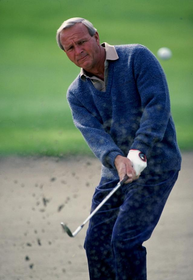 <p>Arnold Palmer, one of the golfers to put the sport on the map in the United States with his skill and charisma, died at 87 on September 25. — (Pictured) Arnold Palmer in action in 1982. (Allsport /Getty Images) </p>