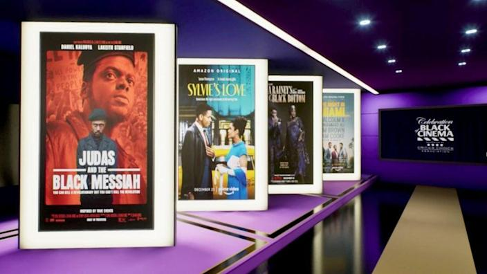 In this screengrab, movie posters are seen at the Critics Choice Association's Third Annual Celebration of Black Cinema on February 02, 2021. (Photo by Getty Images/Getty Images for the Critics Choice Association)