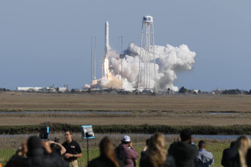 Northrop Grumman's Antares rocket lifts off the launch pad at NASA Wallops Flight Facility in Wallops Island , Va., Wednesday, April 17, 2019. A fresh grocery shipment is on its way to the International Space Station after launching from Virginia. (AP Photo/Steve Helber)