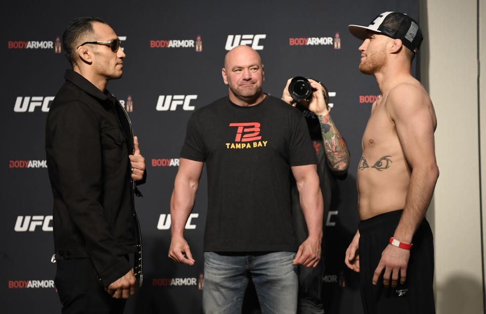 (L-R) Tony Ferguson and Justin Gaethje face off during the UFC 249 official weigh-in on May 8, 2020, in Jacksonville, Florida. (Photo by Mike Roach/Zuffa LLC)