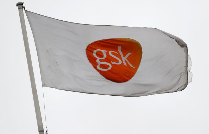 A GSK logo is seen on a flag at a GSK research centre in Stevenage