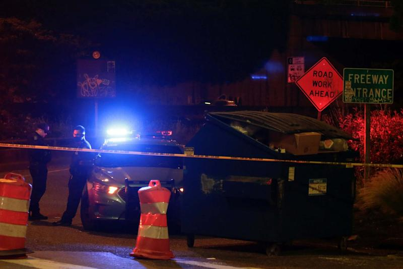 Police block the Yale Avenue onramp near the spot where two protesters were stuck by a car in Seattle: REUTERS