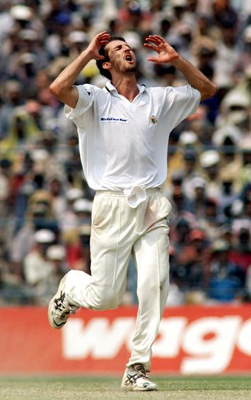 Jason Gillespie of Australia shows his frustration at a near miss, during day four of the 2nd Test between India and Australia played at Eden Gardens, Calcutta, India. X DIGITAL IMAGE  Mandatory Credit: Hamish Blair/ALLSPORT