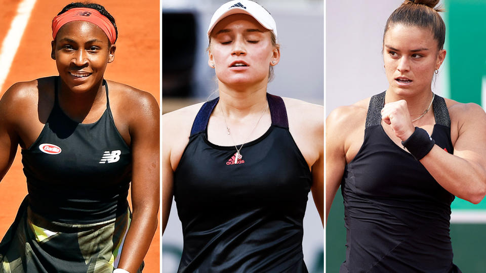 Coco Gauff, Elena Rybakina and Maria Sakkari, pictured here in action at the French Open.