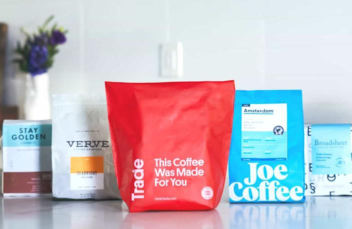 "Always have coffee on hand and try new blends every month with a Trade Coffee subscription. This site will ask you some questions — like ""how do you usually make your coffee at home?"" and ""what is your coffee experience level?"" — and then select a coffee based on your beverage needs. You can choose ""The Classics"" subscription, which gets you one or two 12-ounce bags per order, or ""The Hookup,"" which gets you one pricier 12-ounce bag of coffee.<br /><br /><strong>Get it from Trade Coffee starting at <a href=""https://go.skimresources.com?id=38395X987171&xs=1&xcust=HuffPost6074a183e4b063a419480ede&url=https%3A%2F%2Fwww.drinktrade.com%2F"" target=""_blank"" rel=""nofollow noopener noreferrer"" data-skimlinks-tracking=""5312233