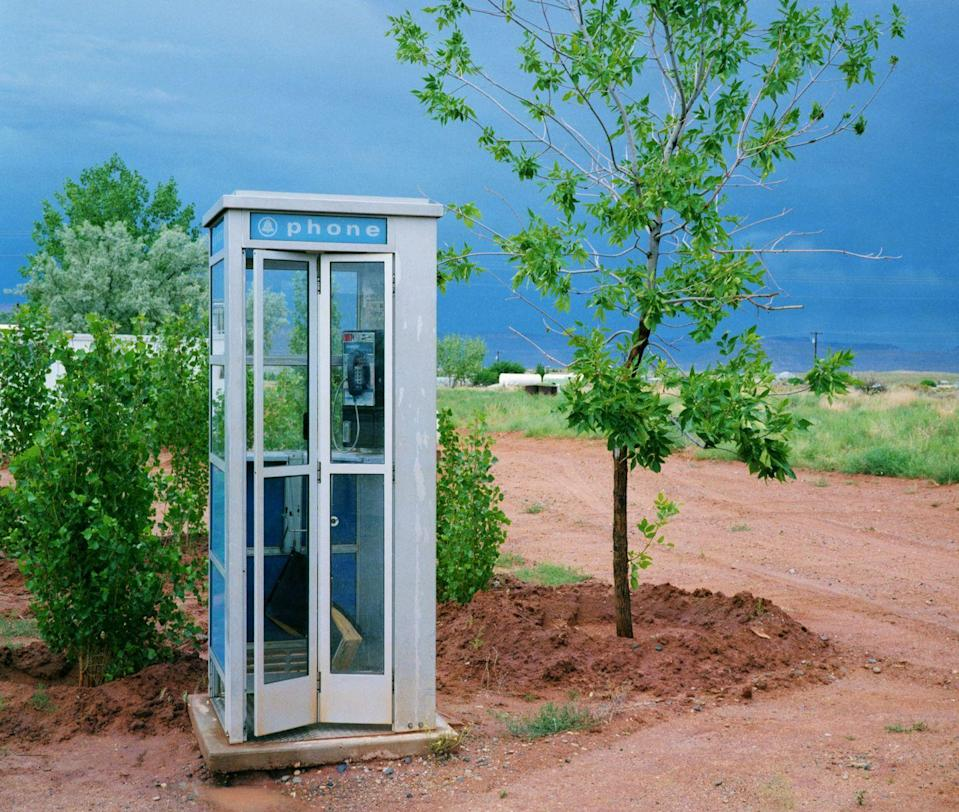 <p>Looking for a pay phone to make a call and hoping you had enough change to do it.</p>