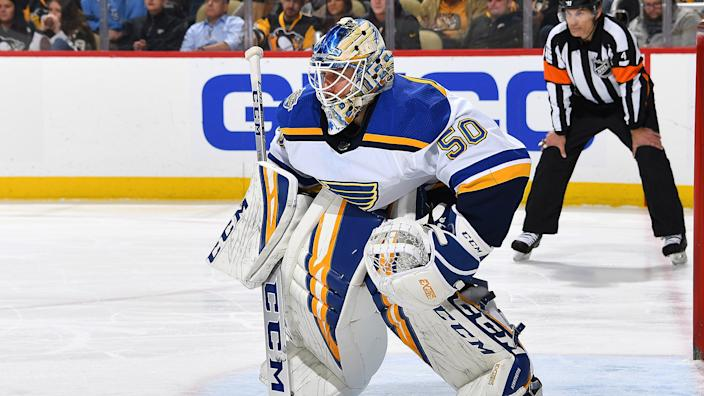Jordan Binnington should see his workload increase this year with Jake Allen out of the picture. (Photo by Joe Sargent/NHLI via Getty Images)