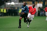 Inter Milan's Taribo West's tenure at Inter Milan was short lived, the defender only spent two years at the club, but the Nigerian cost the Italian giants £10.2 million when he signed from French side Auxerre in 1997. The player when on to make 64 appearances in all competitons. (Credit: Getty Images)