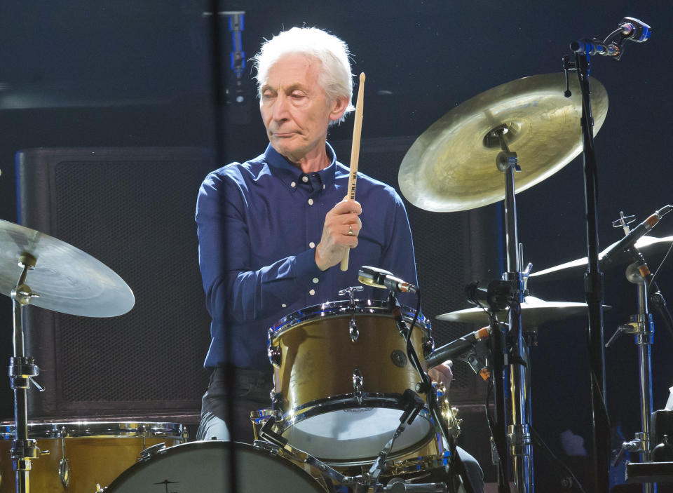 """FILE - Charlie Watts, of the Rolling Stones, performs during a concert of the group's No Filter Europe Tour at U Arena in Nanterre, outside Paris, France, Oct. 22, 2017. Watts will likely miss the band's upcoming U.S. tour to allow him to recover from an unspecified medical procedure. A spokesperson for the musician said Wednesday, Aug. 4, 2021, the procedure was """"completely successful"""" but that Watts needs time to recuperate. (AP Photo/Michel Euler, File)"""