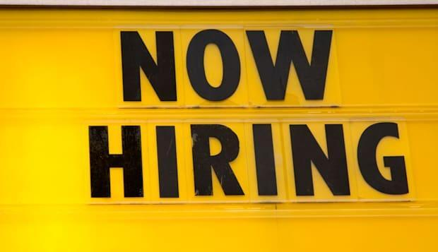 """Now Hiring"" sign"