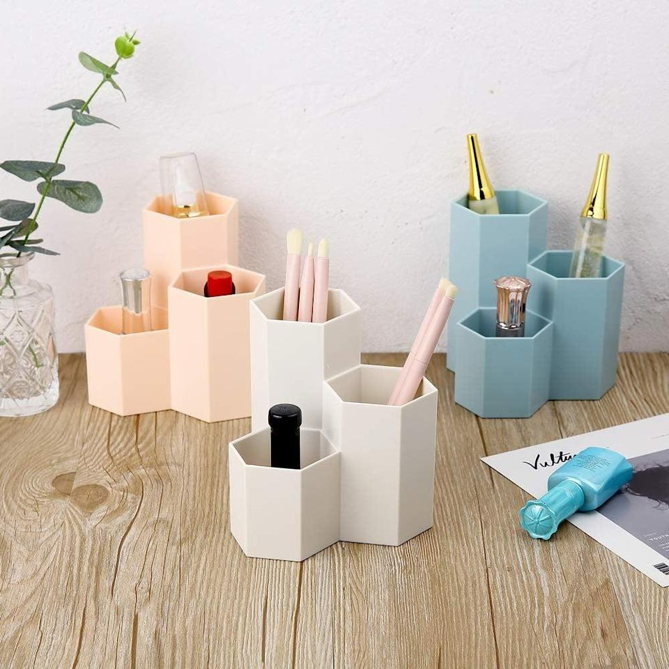 <p>The <span>Yagote Desk Organizer Pencil Holder </span> ($9) has a cool hexagonal shape and comes in three different colors. </p>