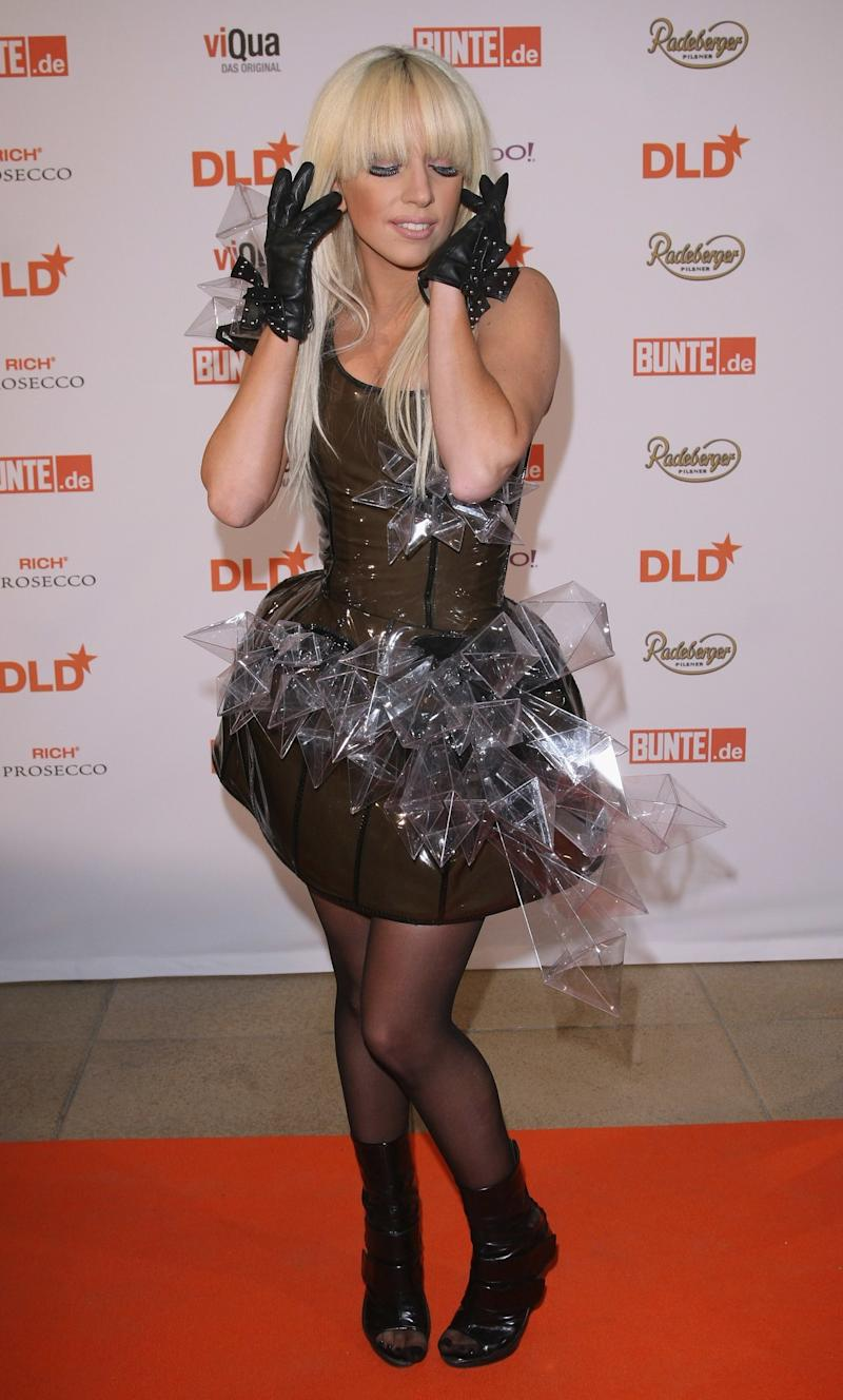 Gaga at a concert event in Germany, wearing one of her crystal stalagmite encrusted dresses.