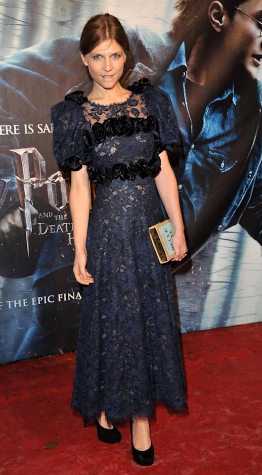 Clemence Posey's (Fleur Delacour) lace frock wasn't nearly as flattering as the lace dresses donned by Emma Watson and J. K. Rowling.
